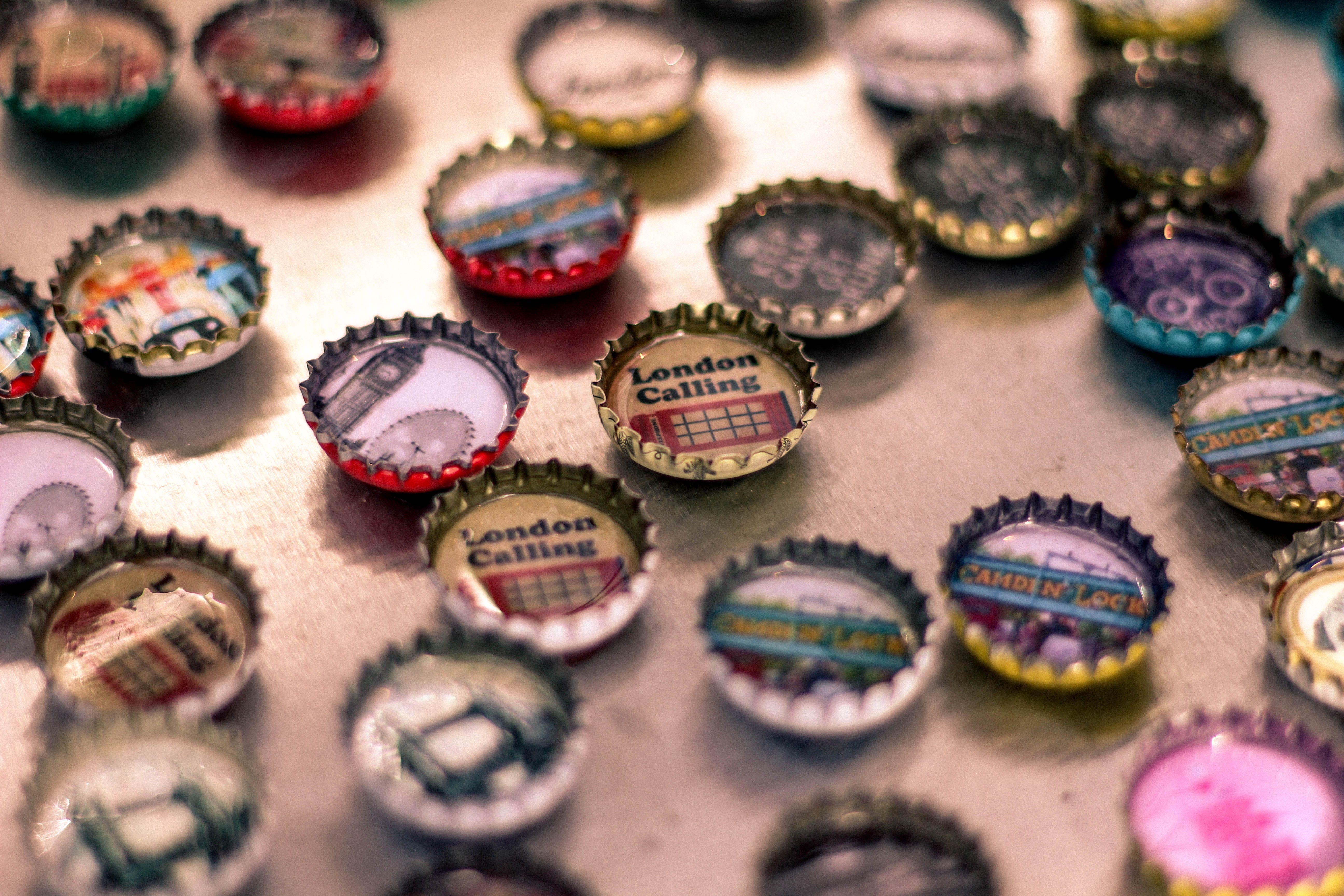 Free stock photo of design, decoration, london, bottle caps