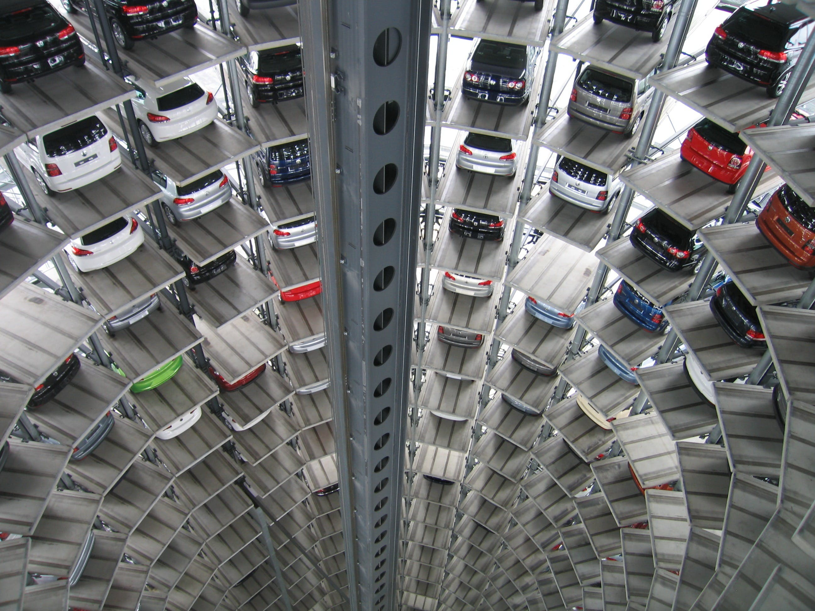 Vehicles Parked Inside Elevated Parking Lot