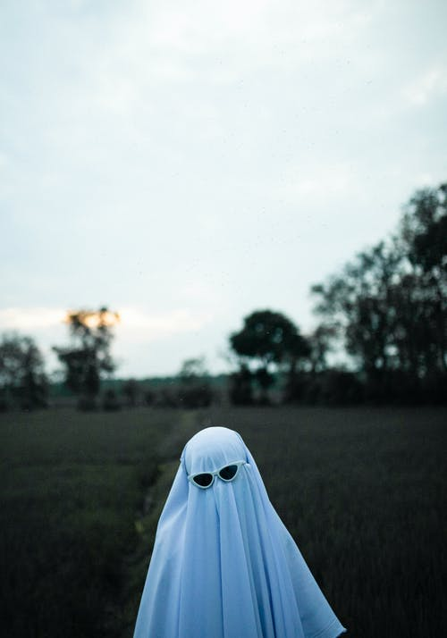 Unrecognizable child covered with white cloth and wearing sunglasses in grassy field in evening