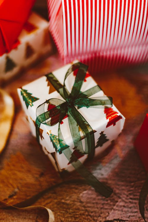 A Wrapped Christmas Gift with Ribbon