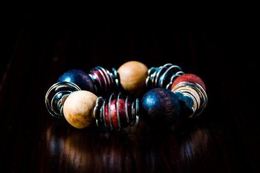 Blue, Red, Beige, and Silver Beaded Bracelet