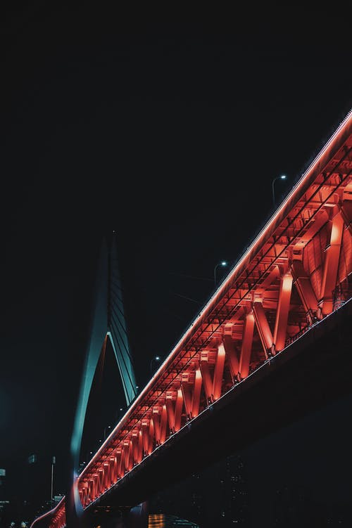Brown and White Lighted Bridge during Nighttime