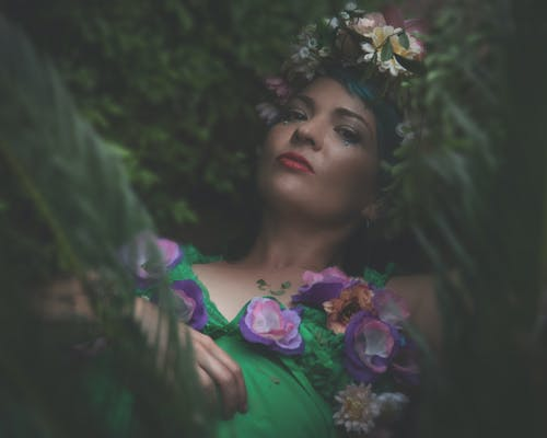 A Woman with a Flower Crown and Dress