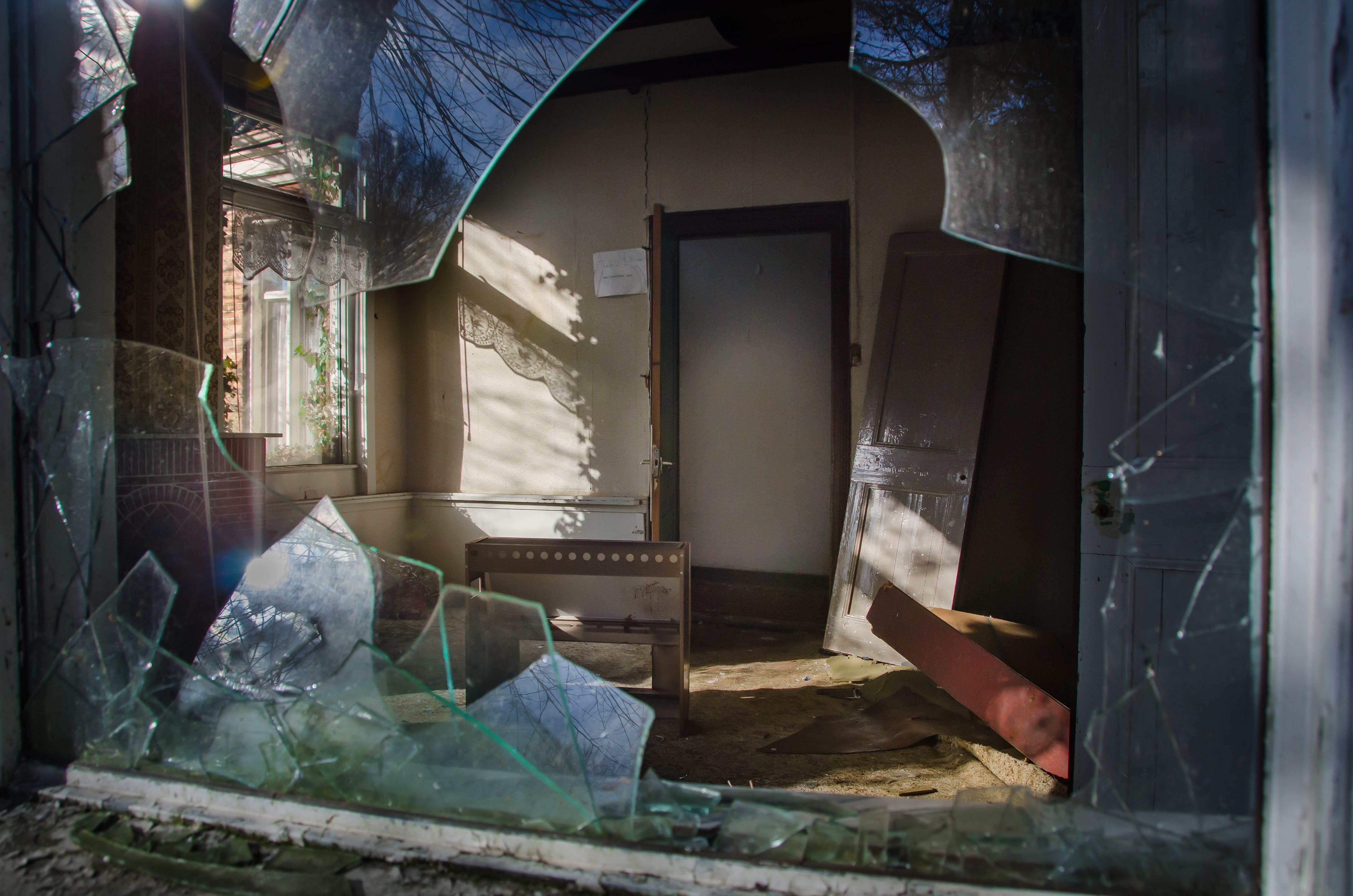 Free stock photo of sun, house, broken, glass