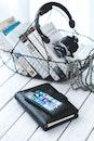 smartphone, notebook, music