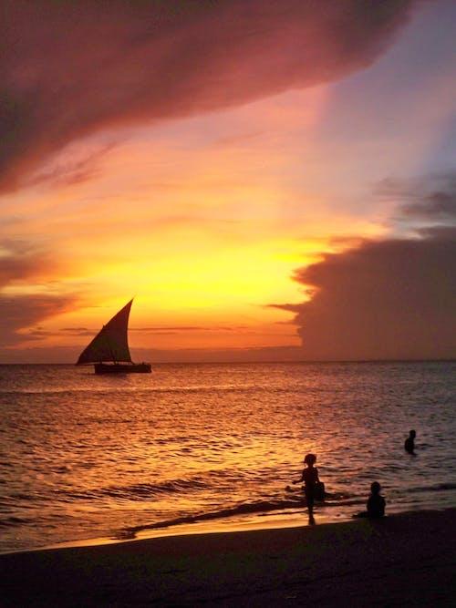 คลังภาพถ่ายฟรี ของ ชายหาด, ตะวันลับฟ้า, แซนซิบาร์