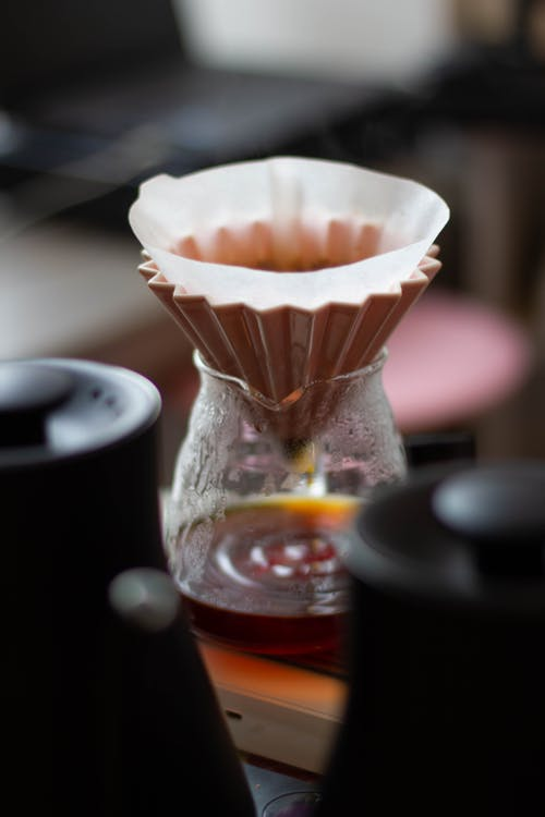 Pour over filter on glass cup