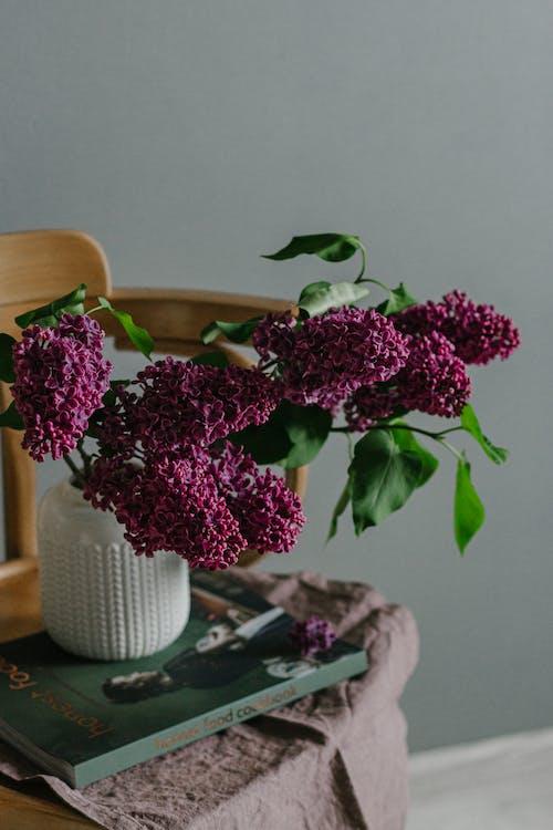 Vivid lilac branches in vase in modern room