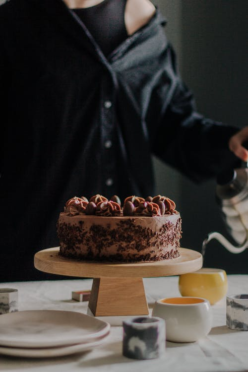 Chocolate Cake on Brown Wooden Table