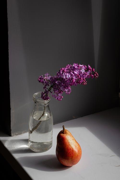透明玻璃花瓶中的紫色花