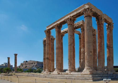 Group of Pillars Under the Blue Sky