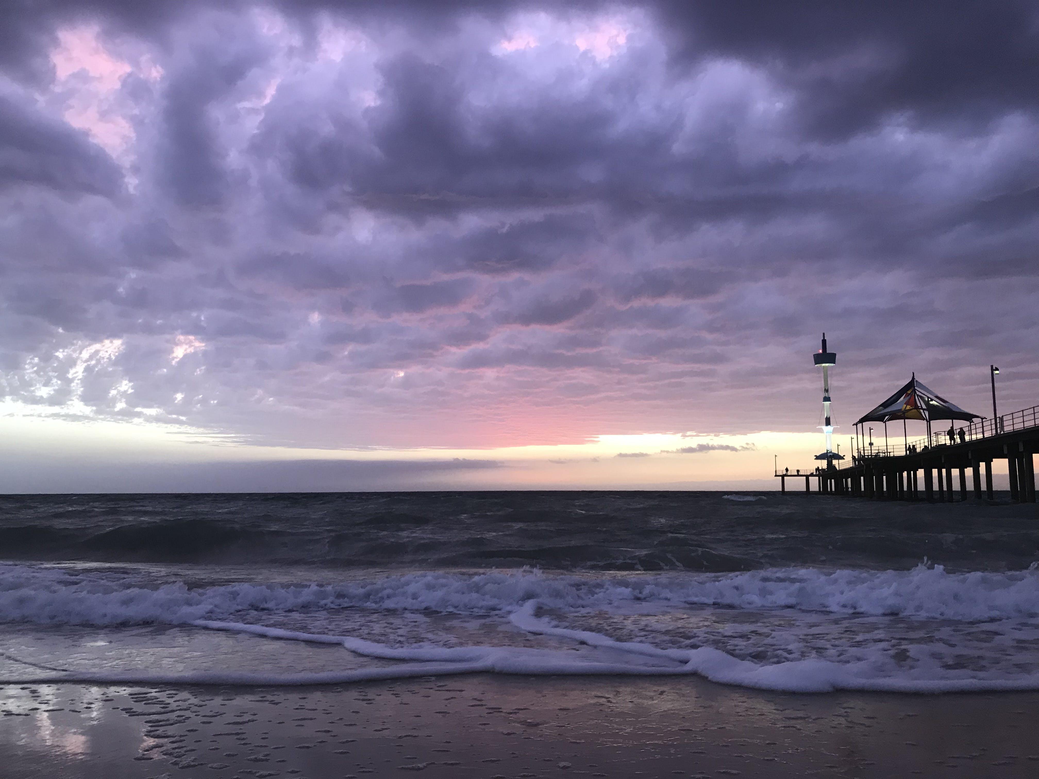 Free stock photo of beach, clouds, peir, sunset