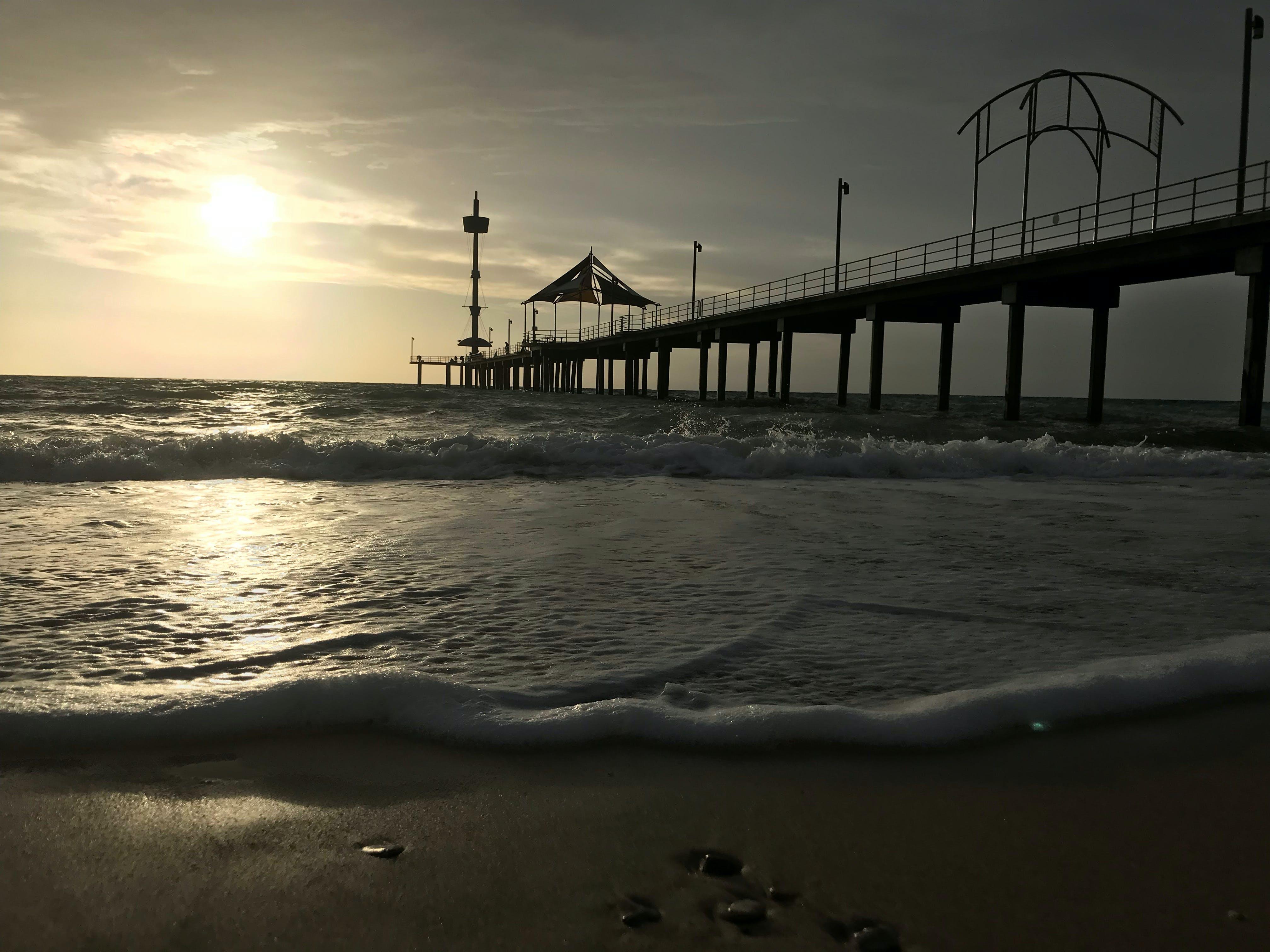Free stock photo of beach, peir, sunset