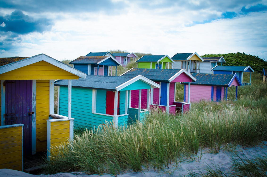 beach, beach hut, sea