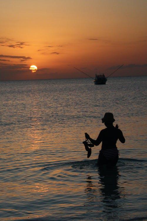 คลังภาพถ่ายฟรี ของ ตะวันลับฟ้า, ทะเล, แซนซิบาร์