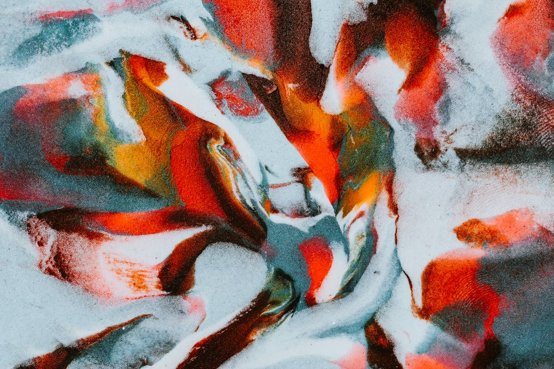 Multicolored abstract painting with wavy lines