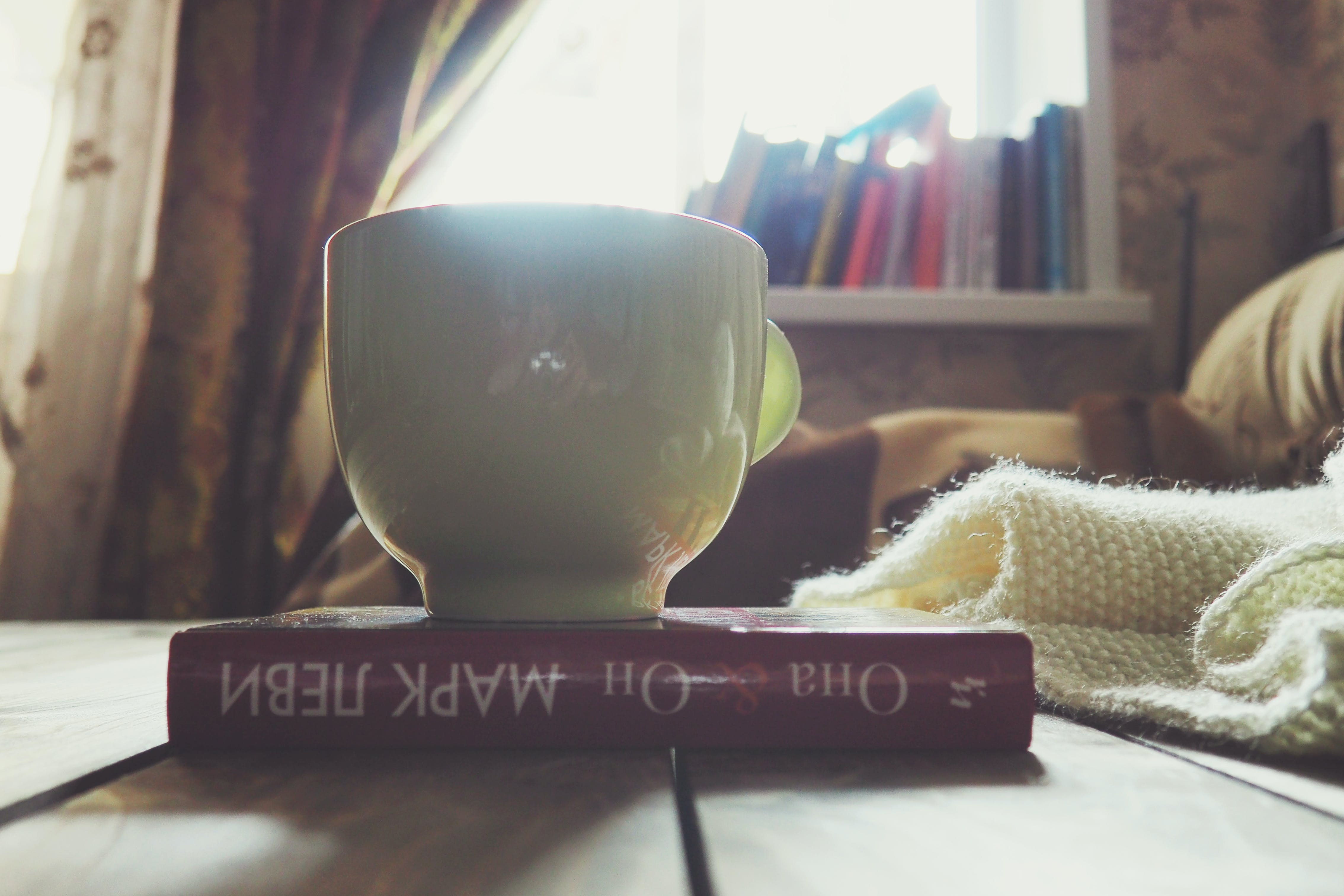 Free stock photo of book, cup, hobby, knitting