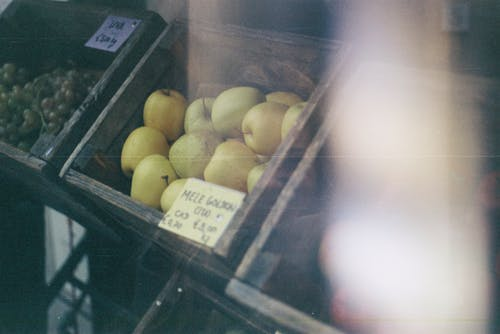 Green Apples in Crate at Market