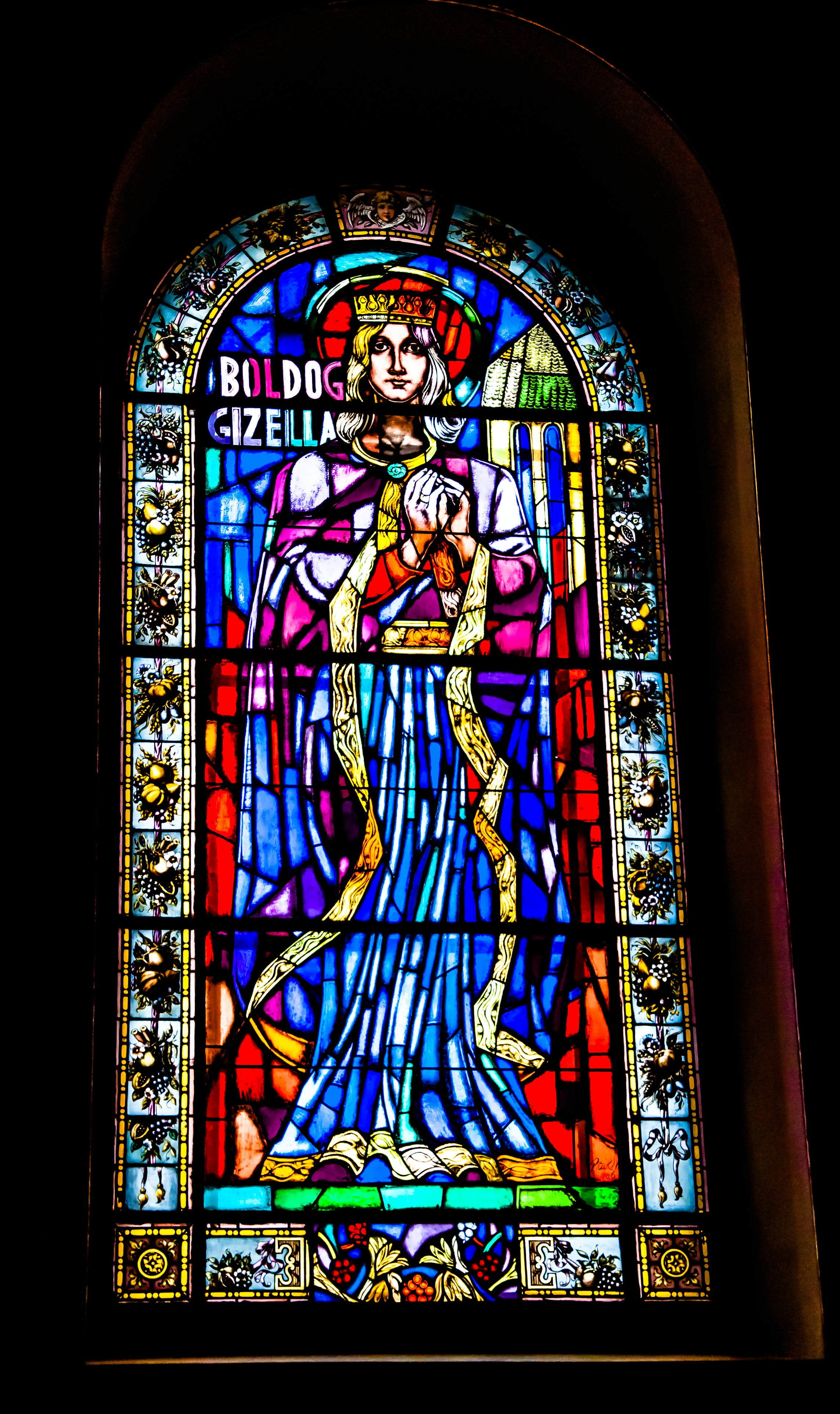 Blue Red Yellow and Green Tiffany Glass Window