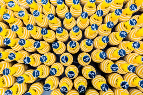 Yellow and Blue Plastic Bottle Cap Lot