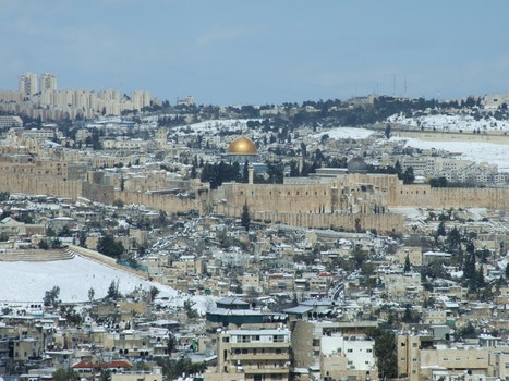 Free stock photo of snow, jerusalem, dome of the rock