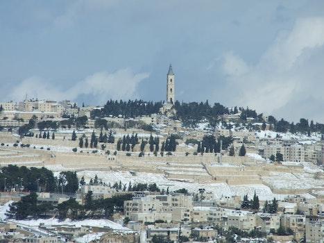 Free stock photo of snow, tower, jerusalem