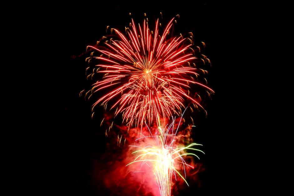 Red Fireworks Digital Wallpaper