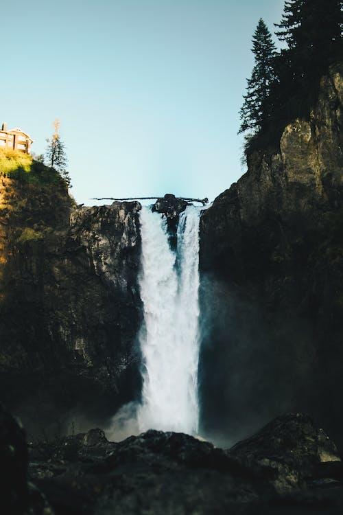 Waterfalls Near House Under Clear Blue Sky
