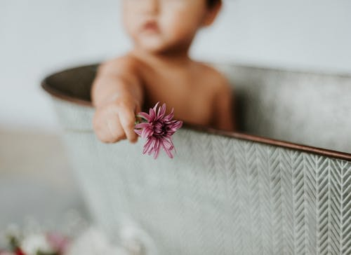 Topless Child Holding Purple Flower
