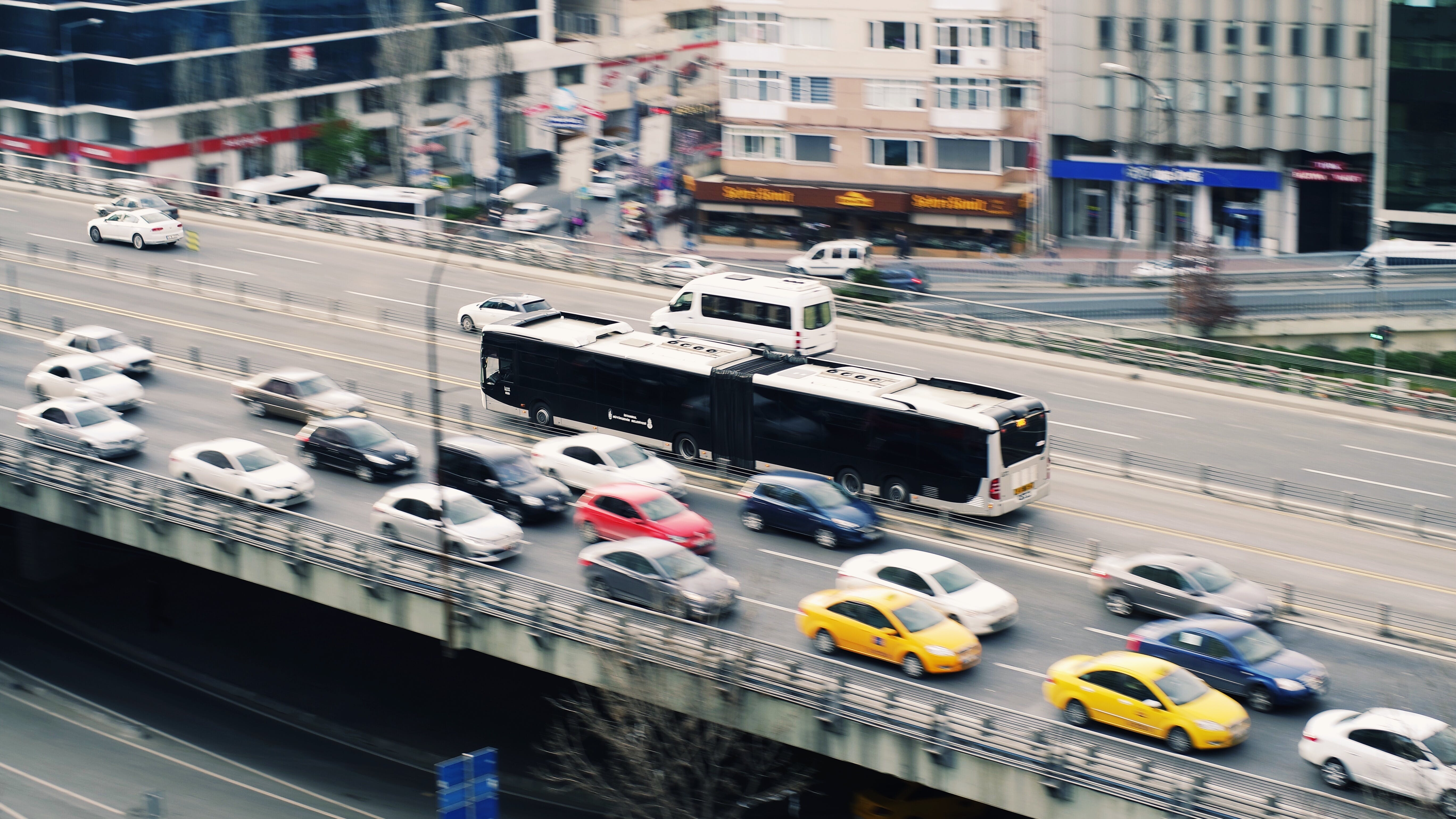 Black and White Bus during Daytime