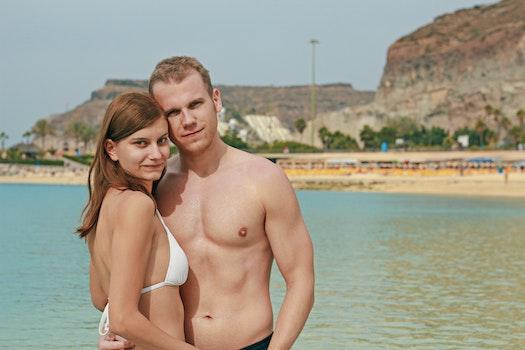Free stock photo of beach, bikini, couple, love