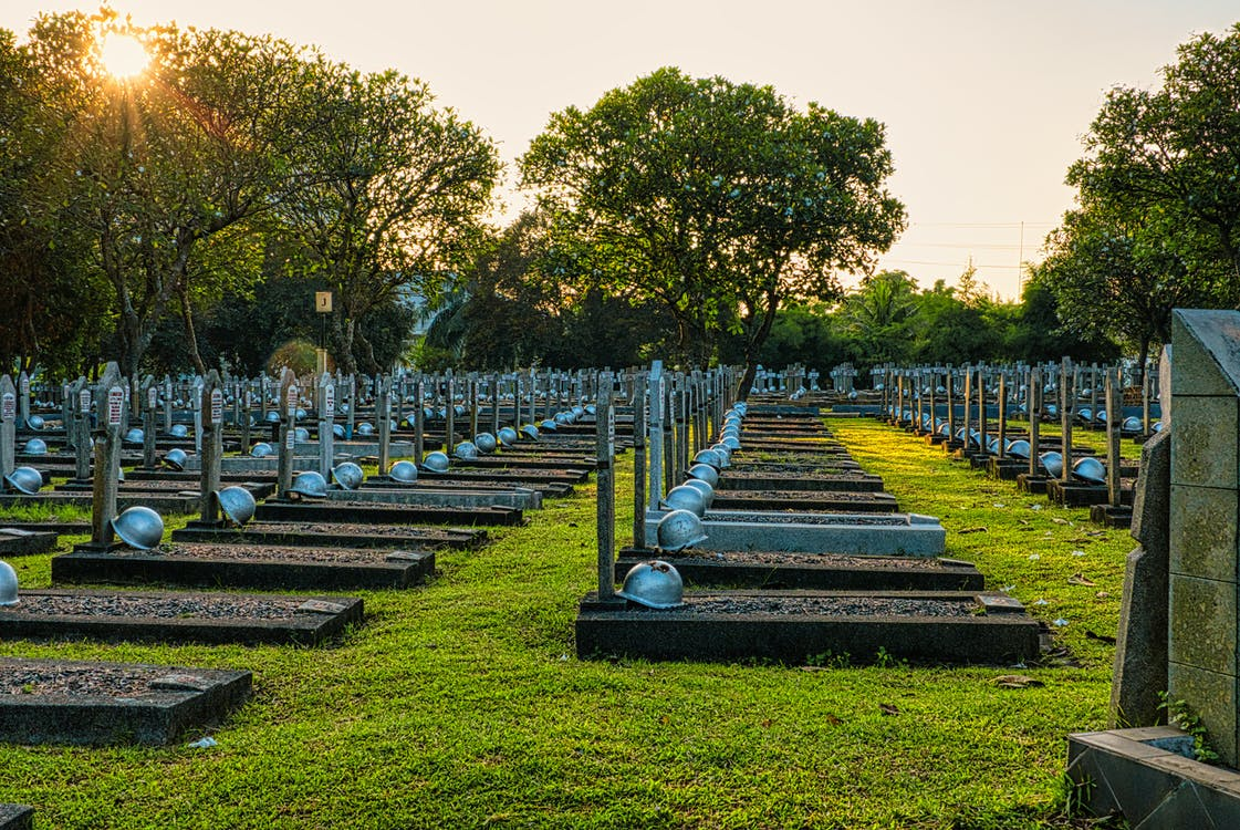 Various military gravestones in cemetery