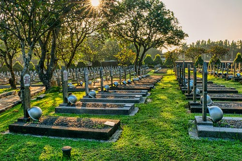 Rows of gravestones with military hardhats located on green tall trees with lush foliage in main heroes cemetery in Indonesia