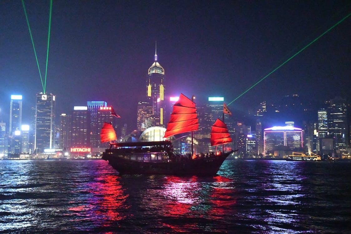 china, hongkong, laserlichtshow