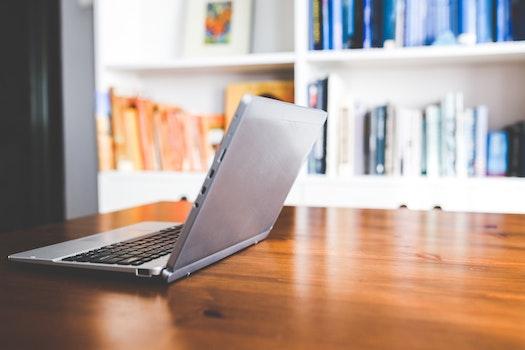 Laptop computer on a wooden desk