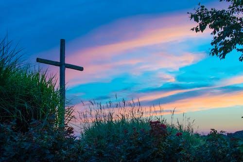 Free stock photo of cross, sunset