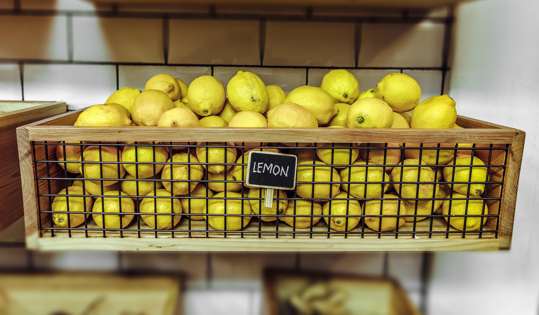 Lemons Inside A Wooden Crate