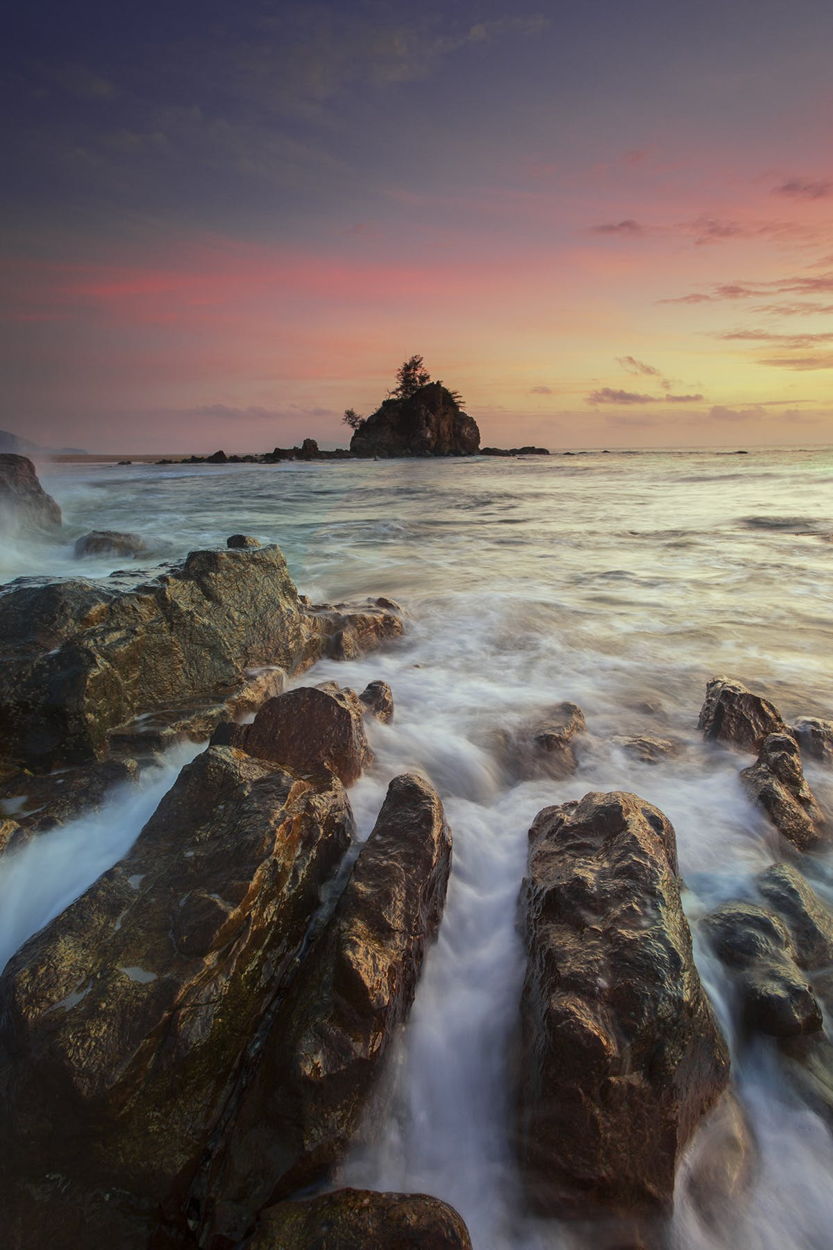 Running Water on Brown Rocks during Yellow Sunset