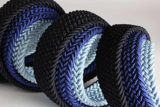 Grey Blue and Black Braided Strap