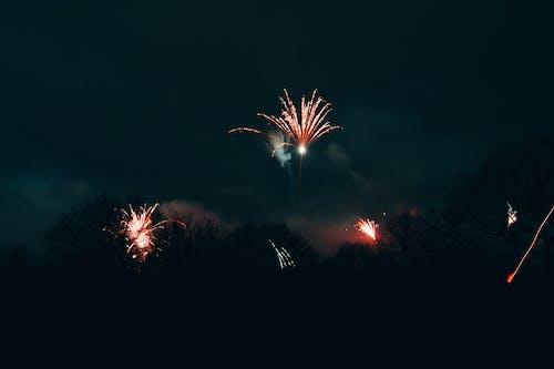 Bright fireworks in night sky