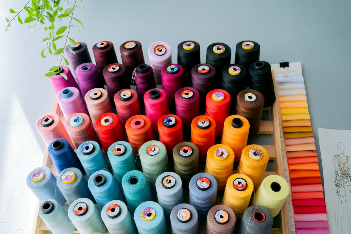 White Red and Blue Thread Rolls