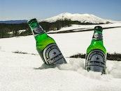 cold, snow, bottles