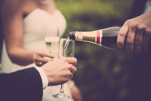 Newly Weds Drinking Champagne
