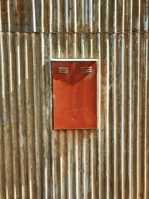 Free stock photo of corrugated, corrugated iron, red metal door