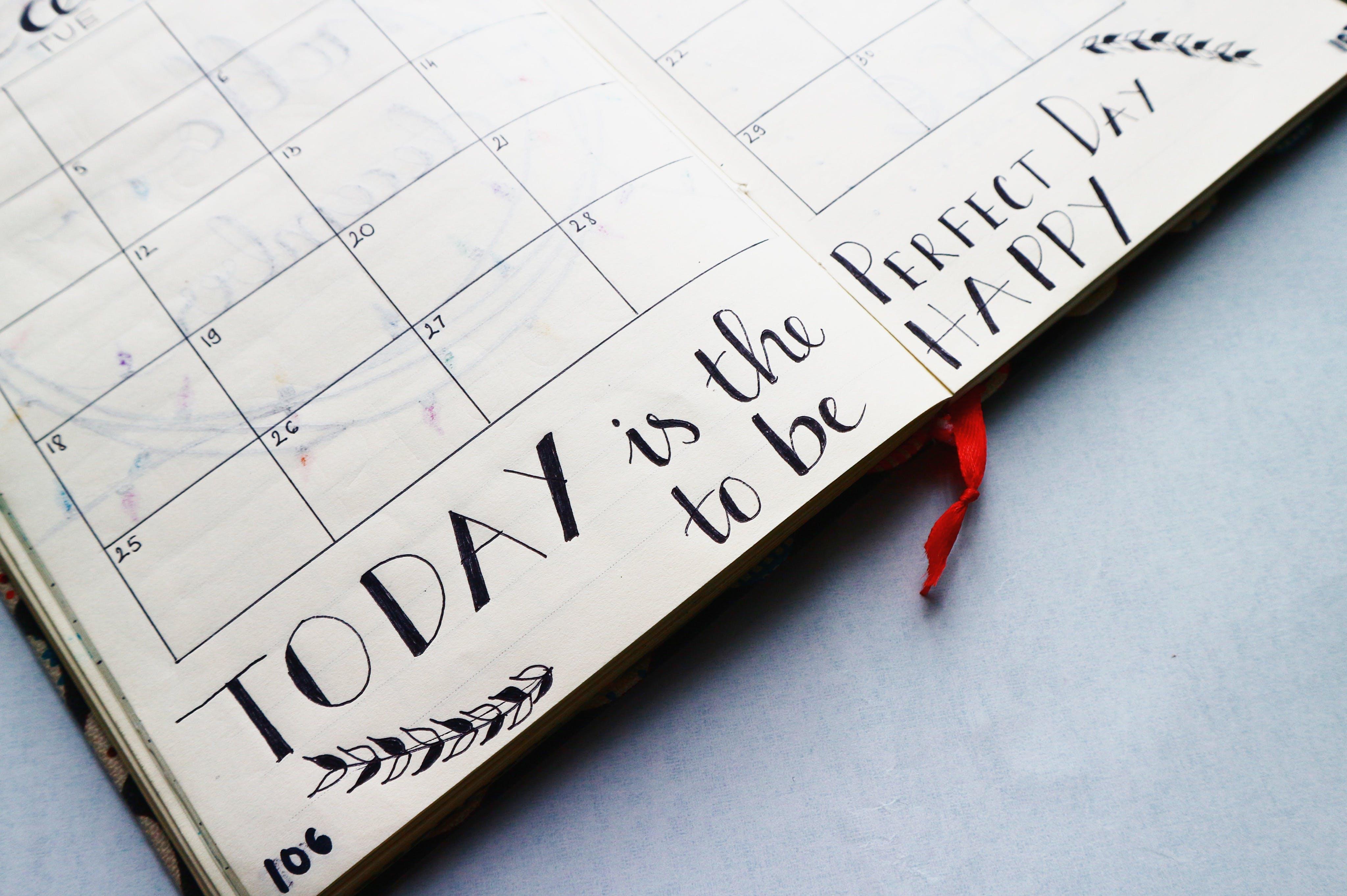 agenda, handschrift, kalender