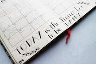 notebook, writing, calendar