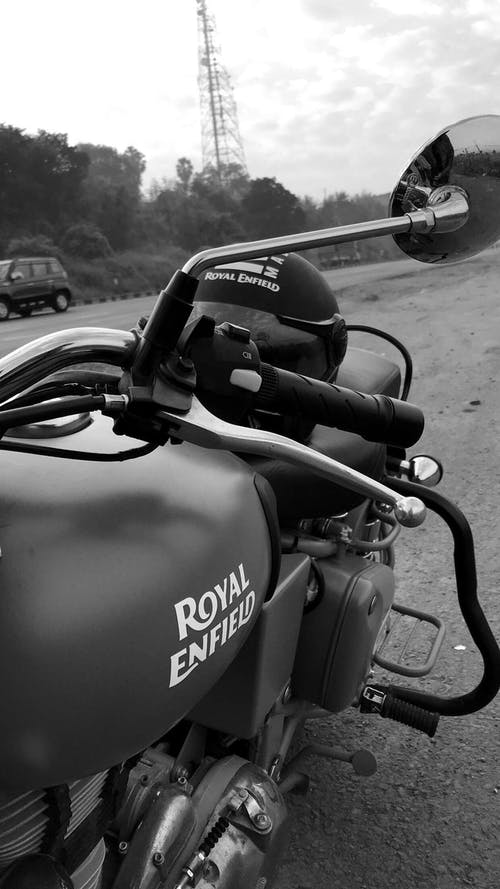 Royal Enfield Indian Motorcycle Grayscale Photo