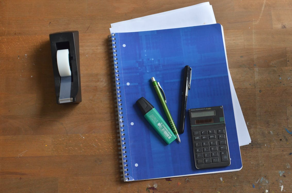 Office tools on wooden table