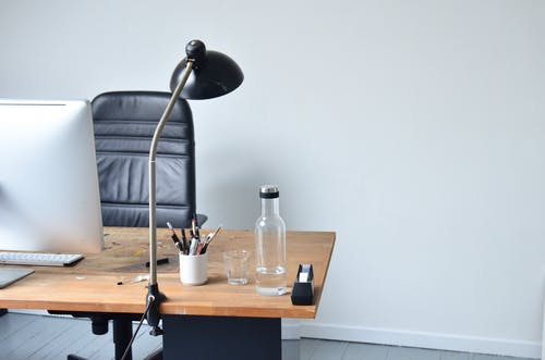 Modern minimalistic workplace in light room