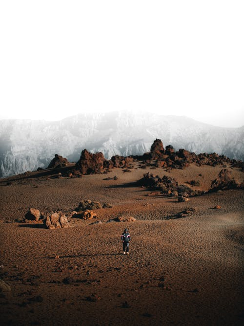 Anonymous person in uniform standing on dry ground with rocky formations against mountains against cloudy sky in daytime